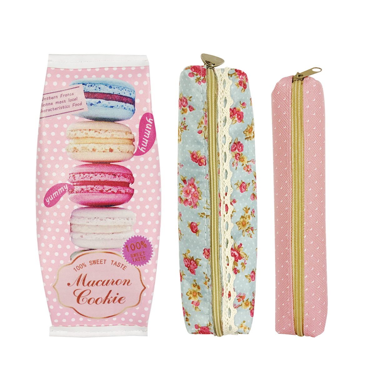 Wrapables® Trendy Food Pencil Case and Stationery Pouches (Set of 3), Pink