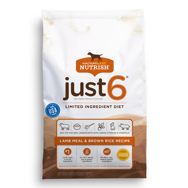 Rachael Ray Nutrish Just 6 Natural Dry Dog Food, Lamb Meal & Brown Rice Recipe, 14 lbs