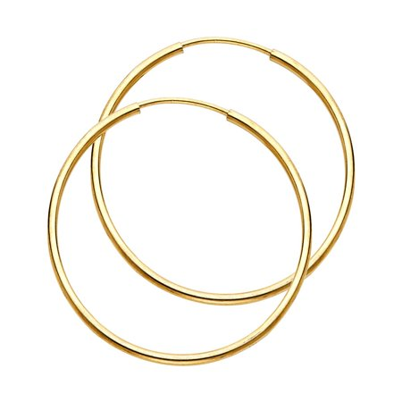 High Polisted Large Circle Endless Hoop 1mm Thickness 14k Yellow Gold Round Appx. 1 1/4