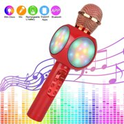 Wireless Karaoke Bluetooth Microphone with LED Lights, EEEkit Portable Handheld Wireless Mic Speaker Machine for Kids Toys/Phone/Android/PC/Outdoor, Gift for Children's Birthday Party, Home KTV-Red
