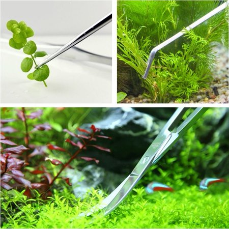 Aquatic Plant Tweezers Scissor Spatula Tool - Stainless Steel Aquarium Tank Tools Fish Starter Kits Aquariums Tank