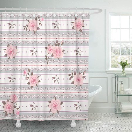 KSADK Gray Pastel Striped Pattern with Pink Roses Leaves and Laces Floral Shabby Chic Shower Curtain 66x72 (Shabby Chic Cabana Stripe)
