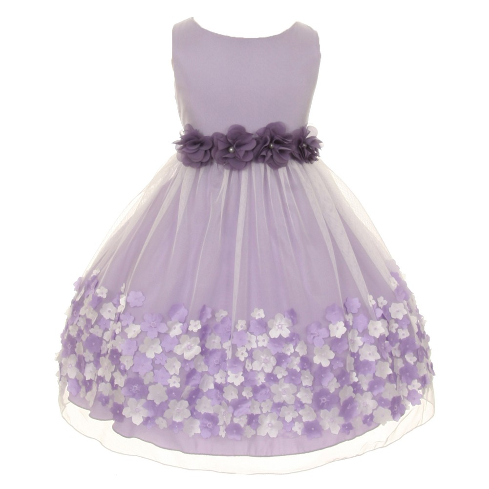 Kids Dream Kids Dream Little Girls Lavender Taffeta Flowers