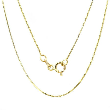 A&M 14kt Yellow Gold Classic Box Link Necklace 1MM,16""