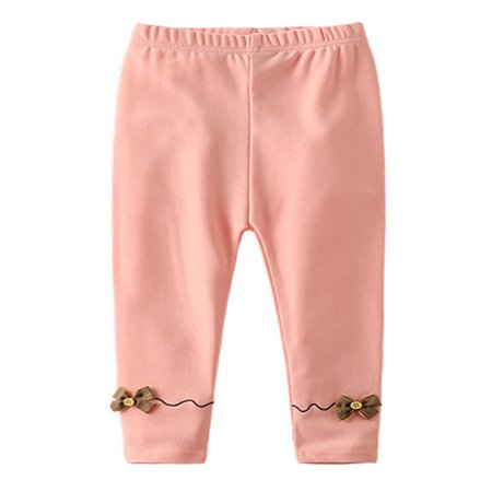 stylesilove Girls Soft Cotton Embellished Ribbon Jersey Leggings (130/6-7 Years, Pink) Pink Ribbon Cotton Jersey
