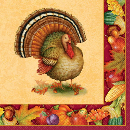 Festive Turkey Thanksgiving Paper Dinner Napkins, 8 in, 16ct