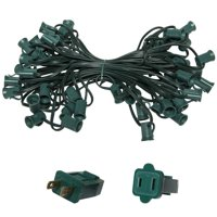 """Holiday Lighting Outlet C7 Christmas Light String, Patio Event Lighting, 50', Green Cord, 12"""" Socket Spacing, E12"""