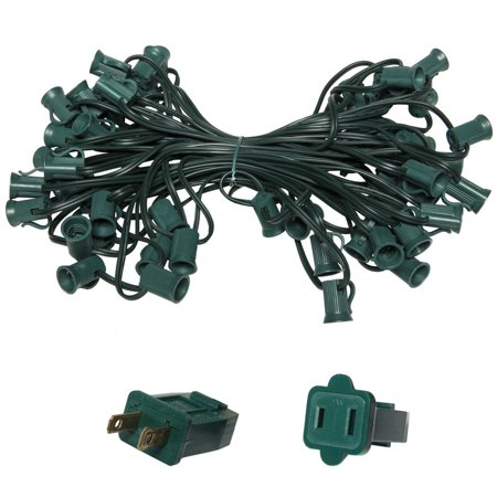 Holiday Lighting Outlet C7 Christmas Light String, Patio Event Lighting, 50', Green Cord, 12