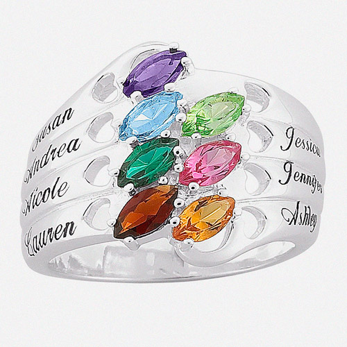 Personalized Marquise Birthstone Silver Tone Mother's Family Name Hearts Ring