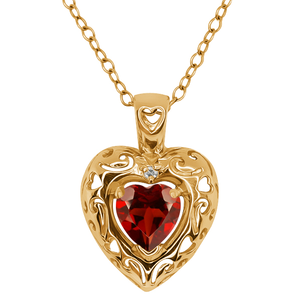 0.92 Ct Heart Shape Red Garnet and Topaz Gold Plated Silver Pendant