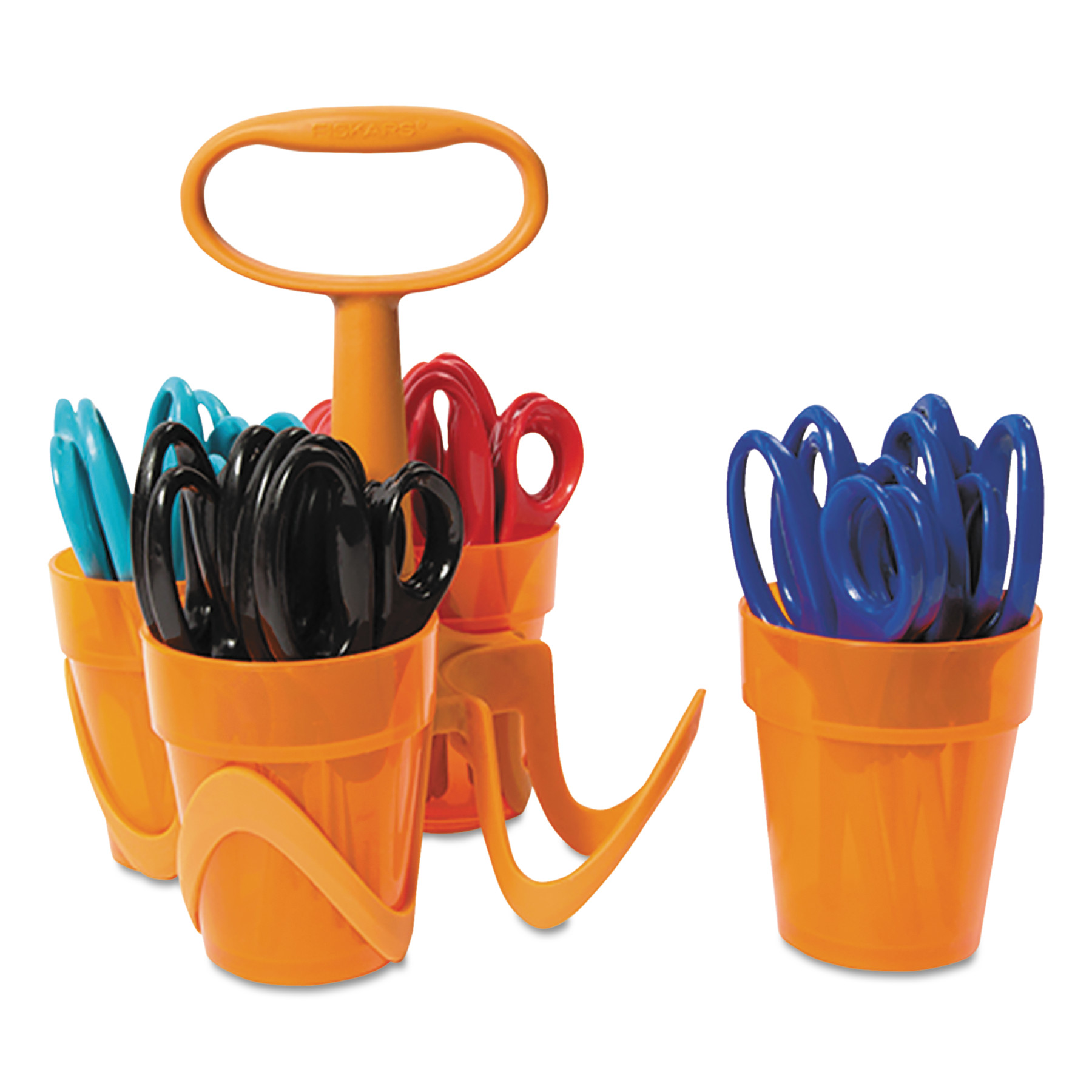 "Fiskars Premium 5"" Pointed Kids Scissors Classpack with Caddy, 24-Count"