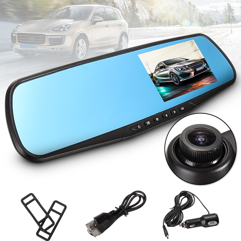 "ELEGIANT 4.3"" HD 1080p Car DVR Camera Vehicle Rearview Mirror Monitor Dash Cam Video Recorder 170° Wide Angle,G-sensor"
