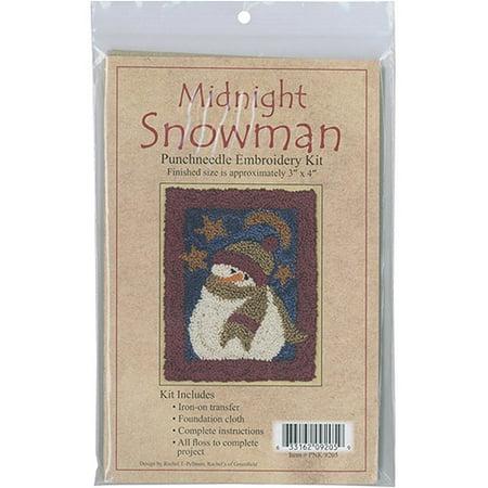 Midnight Snowman Punch Needle Kit, 3
