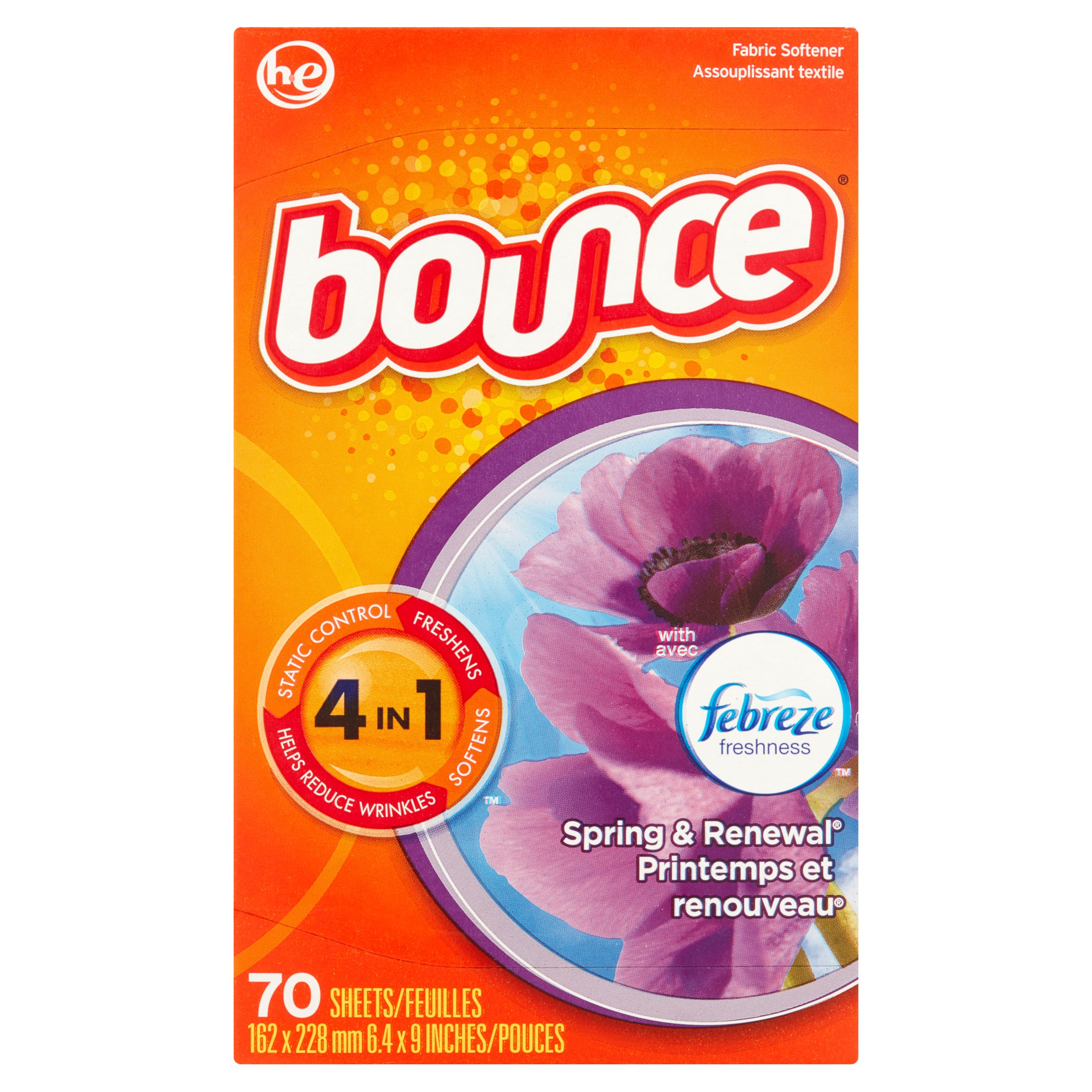 Bounce with Febreze Freshness Spring & Renewal Fabric Softener, 70 sheets