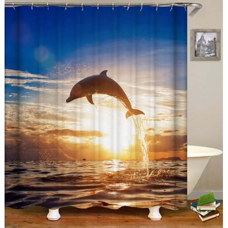 4pcs Sunset Dolphin Printing Bathroom Suit Waterproof Bath