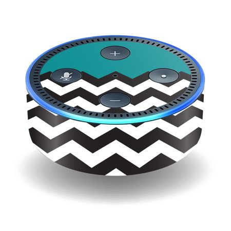Skin Decal Wrap For Amazon Echo Dot  2Nd Generation  Stickers Teal Chevron