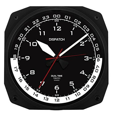 Trintec 12 & 24 Hour Square Military Time Swl Zulu Time 24hr Wall Clock Black Dial with White Moon (24 Hour To 12 Hour Time Converter)