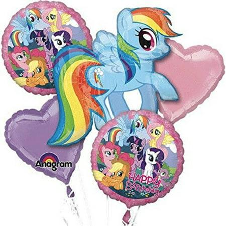 My Little Pony Birthday Balloon Bouquet Birthday Party Favor Supplies 5ct Foil Balloon Bouquet