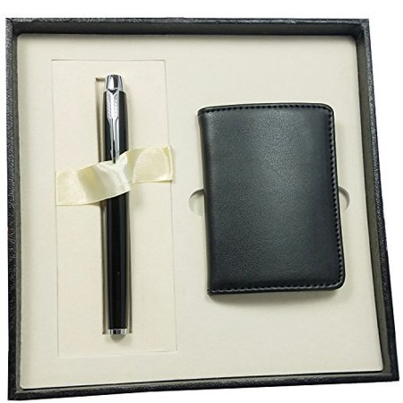Business Card Holder By Apor 100 Handmade Premium Leather Case Gift Set With Magnetic Shut Include Signature Pen Black