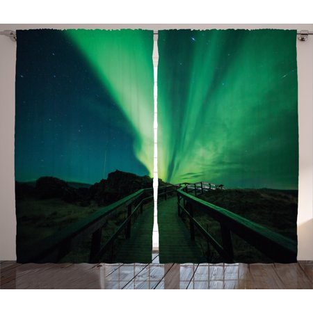 Aurora Borealis Curtains 2 Panels Set, Wooden Bridge Solar Sky Scenic Radiant Rays Arctic Magic Scenery, Window Drapes for Living Room Bedroom, 108W X 108L Inches, Fern Green Dark Blue, by Ambesonne