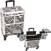 E6304ZBWH Zebra White Rolling Beauty Case - E6304