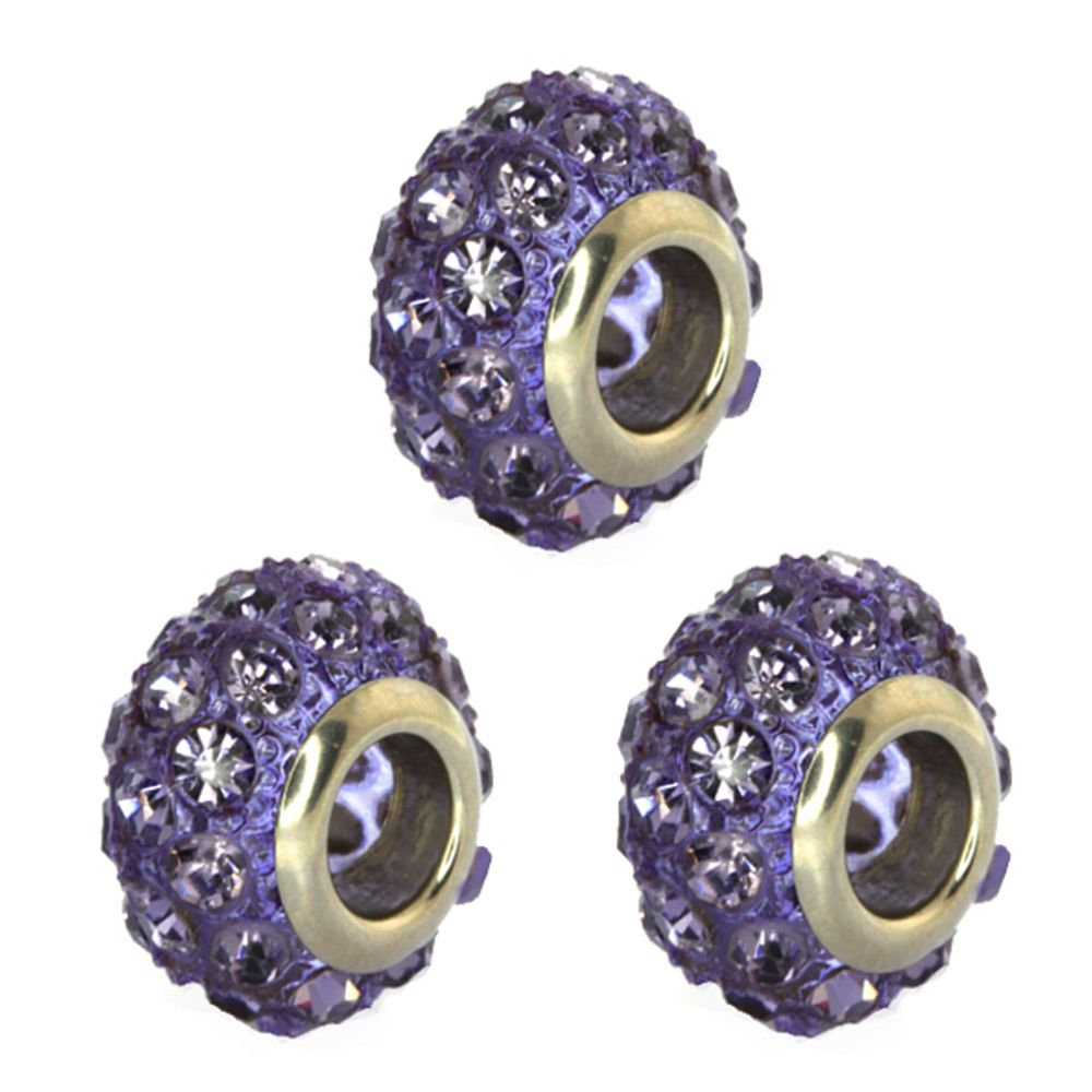 Set of Three 14mm Round Purple Pave Crystal Ball Fits with Beads and Charms