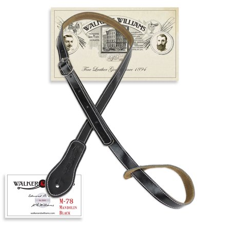 Black Leather Mandolin (Walker & Williams M-78 Black Soft Leather Adjustable Mandolin, Mandola, Bouzouki Strap)