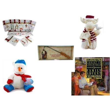 Christmas Fun Gift Bundle [5 Piece] - Brite Star Classic Trims Dickens Village Ornament Set of 12 - Woodniks