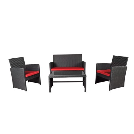 Modern Outdoor Garden, Patio 4 Piece Seat - Wicker Sofa Furniture Set (Black)