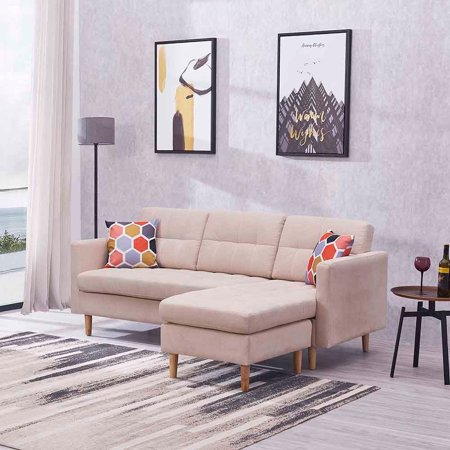 Convertible Sectional Sofa Couch, L-Shaped Couch Mid-century Modern Chaise  Sectional Fabric Sofa Couch