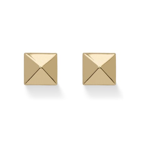 Pyramid Stud Earrings in Hollow 14k Yellow Gold