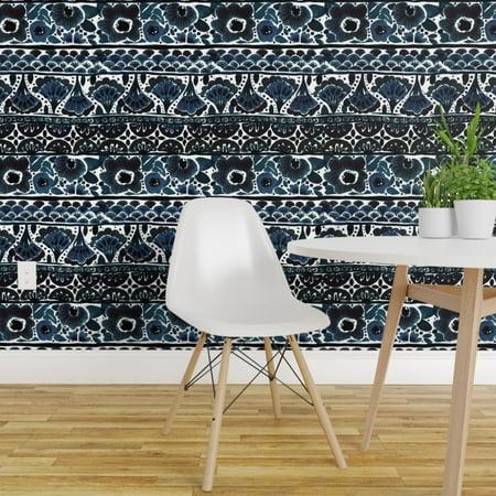 Wallpaper Roll Blue Floral Bohemian Boho Stripe Indigo Ethnic 24in x 27ft Strictly Stripes Wallpaper