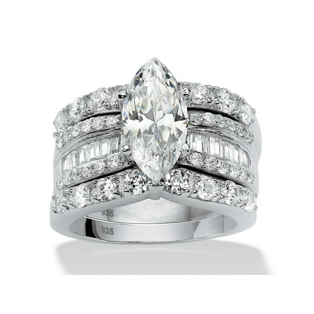 cfe97d177 Palm Beach Jewelry - 4.55 TCW Marquise-Cut Cubic Zirconia 3-Piece Bridal  Ring Set in Platinum over Sterling Silver - Walmart.com