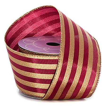 Burgundy Gold Striped Christmas Ribbon - 2 1/2