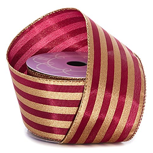 Burgundy Gold Striped Christmas Ribbon 2 1 2 X 10 Yards Wired Ribbons For Crafts Centerpieces Vase Bouquet Wedding Streamers Bows Walmart Com Walmart Com