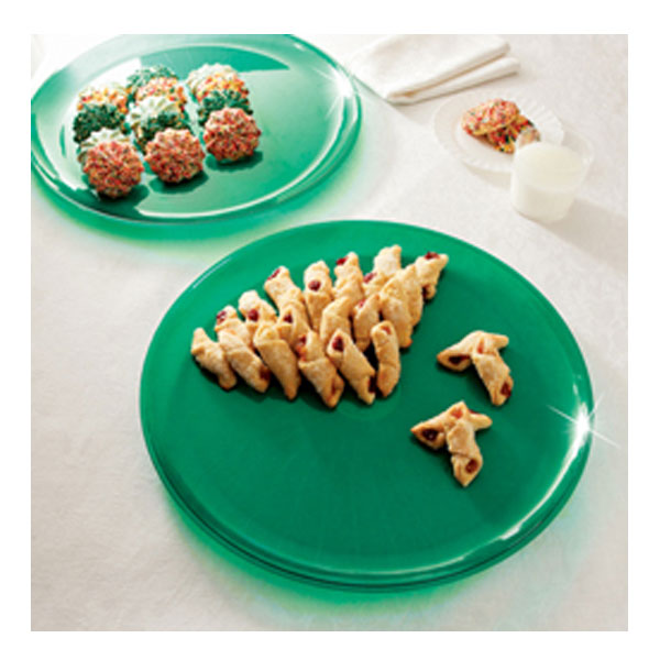 Green 12 Inch Plastic Party Trays/Set of 25