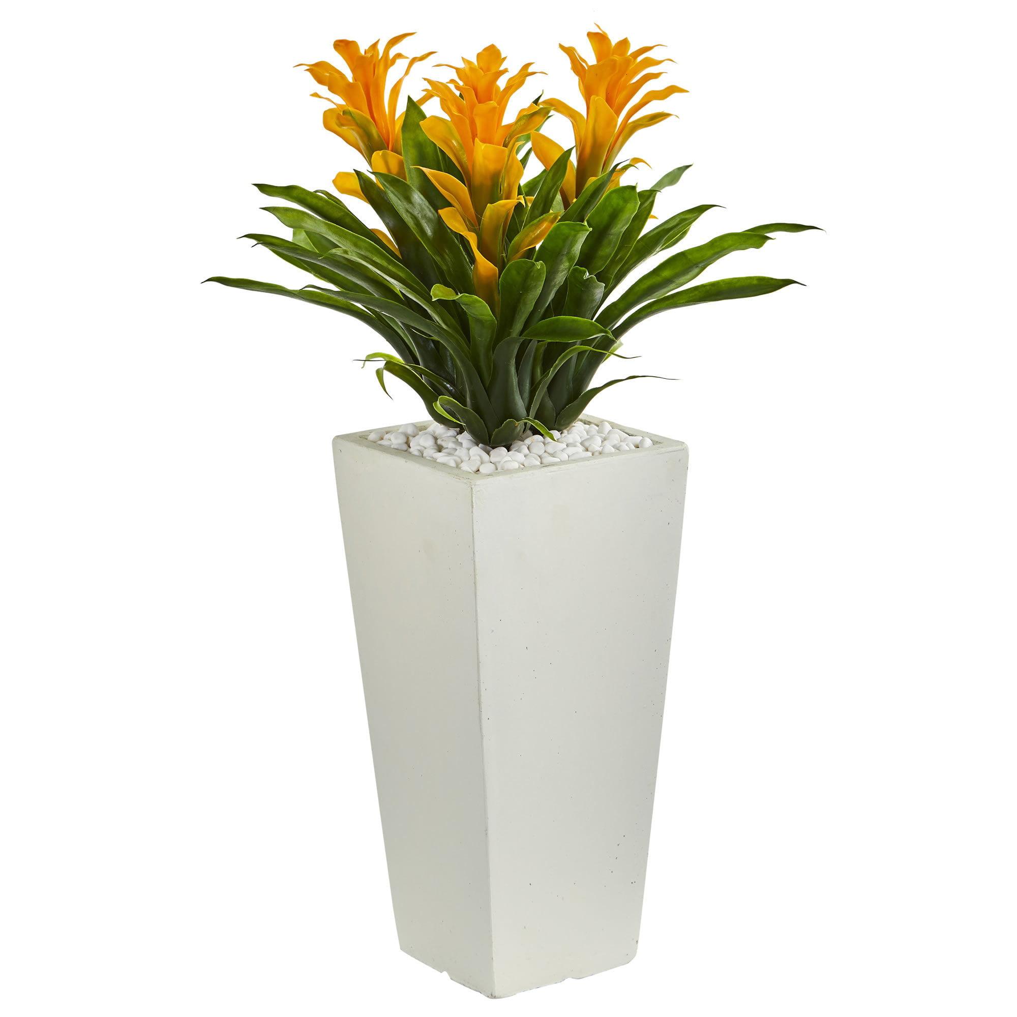 Nearly Natural Triple Bromeliad Artificial Plant In White Tower Planter Walmart Com Walmart Com