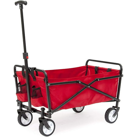 Seina Collapsible Folding Wagon with Straps | Utility Cart, Portable, Lightweight, Fold up, for Groceries, Laundry, Sports, Baseball, Softball, Fishing and Camping