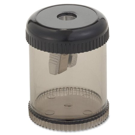 Round Pencil Sharpener - Desktop, Handheld - 1 Hole(s) - Plastic, Aluminum - SmokeSold as 1 EA. Round pencil sharpener features a screw-on lid and see-through.., By Integra