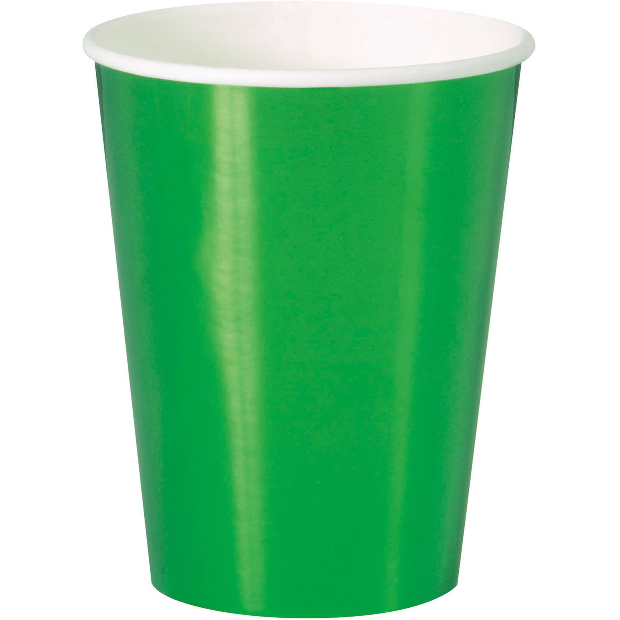 Paper Cups, 12 oz, Green Foil, 8ct