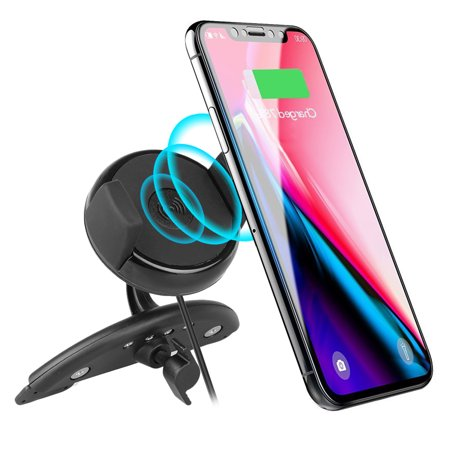TSV Qi Standard Wireless Car Charger Mount Cell Phone Holder CD Slot for Samsung Galaxy Note 8 S8/S8 Plus S7/S7 Edge iPhone 8/iPhone 8 Plus/iPhone XS/X and Qi-enabled Devices