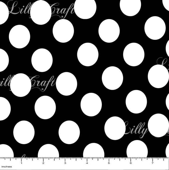 "Polka Dots 1"" White on Black"