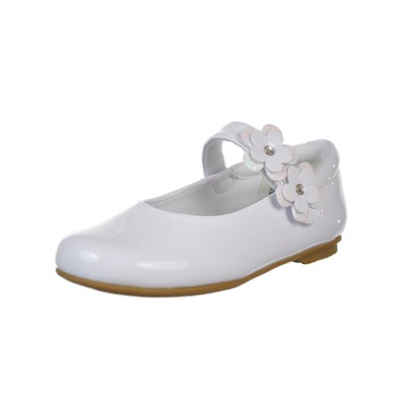 Rachel Shoes Girls White Patent Flower Applique Mary Jane Shoes 1 Kids - Girl White Shoes