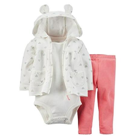 - Carters Infant Girls 3 PC Micro Fleece Set Creeper Pants & Heart Hoodie Jacket