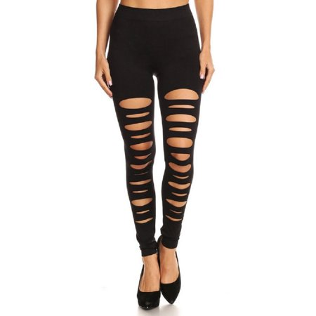 adb26aa1d4263 Couver - Women High Waist Strechy Leggings Full Length Cut Out Tights  Seamless Pants, Black,Slit - Walmart.com