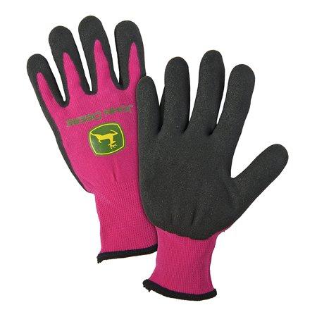 John Deere Jersey Gloves (JD00021 Latex Grip Coated Gloves, Women's, Pink, Women's By John)