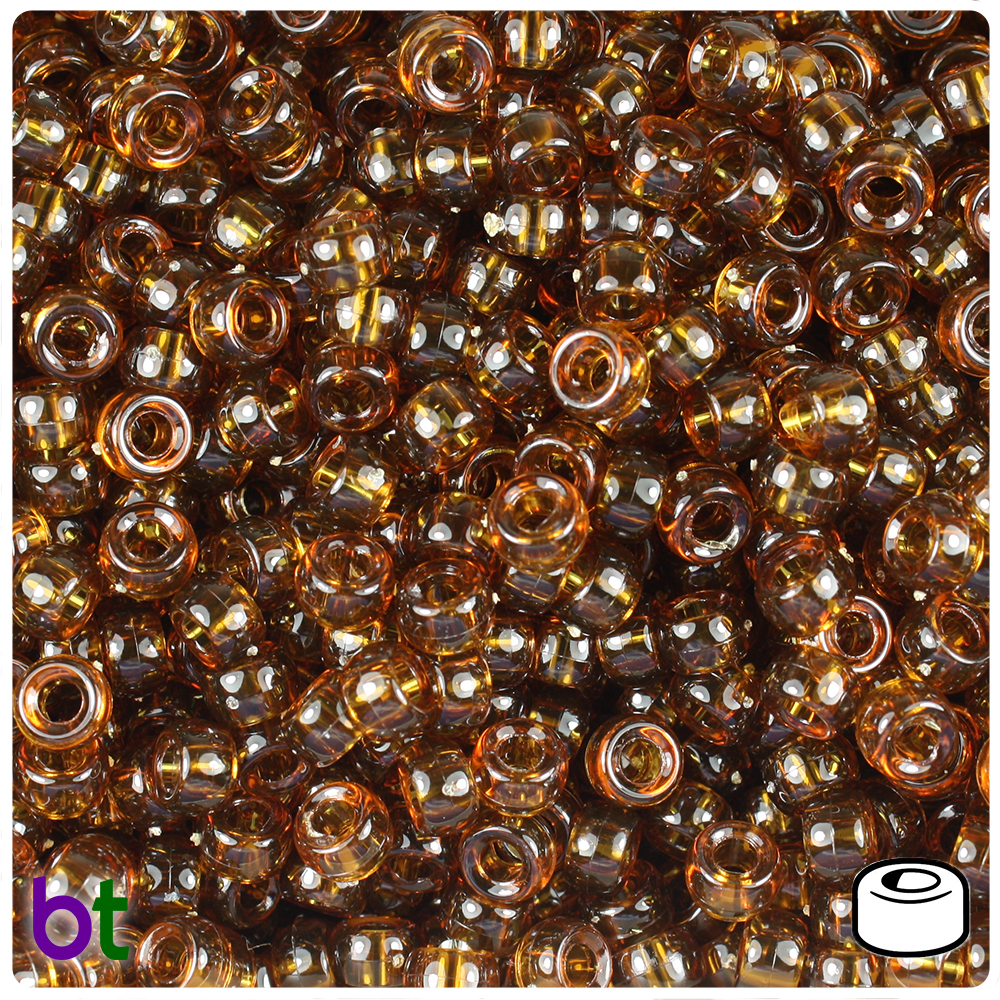 1000 Light Gold Transparent 6.5x4mm Mini Barrel Pony Beads Made in the USA