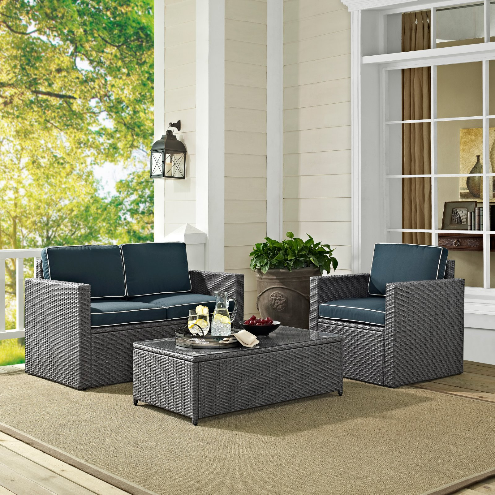 Crosley Palm Harbor Outdoor Wicker Seating Set, Grey Wicker with Navy Cushions, 3-Piece