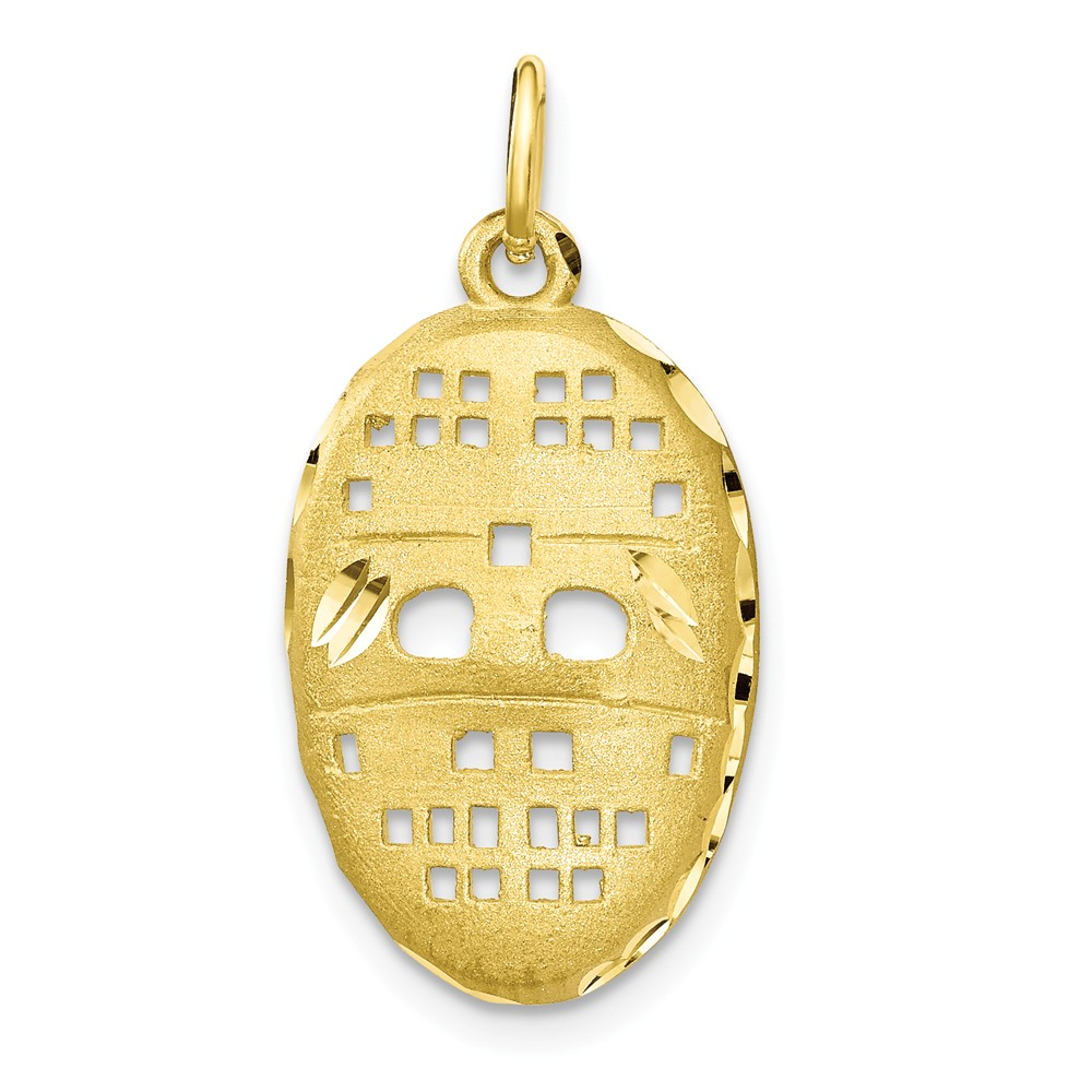 10k Yellow Gold Hockey Mask Charm Pendant