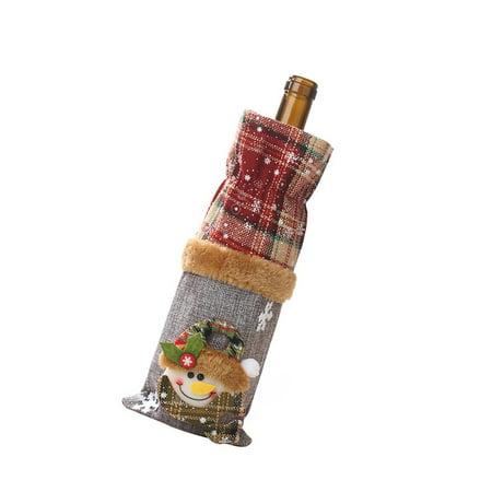 Brand New Wine Bottle Decoration Burlap Snowman Bottle Cover Wine Cover Beam Port - image 3 of 8